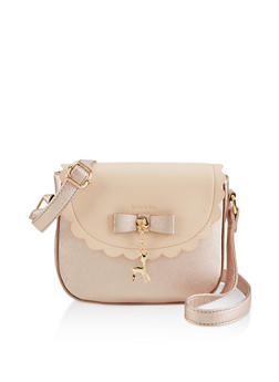 Textured Faux Leather Two Tone Crossbody Satchel - 1124073896829