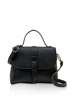 Structured Faux Leather Crossbody Bag - 1124073896832
