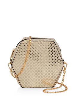 Geometric Embossed Crossbody Bag - 1124073896833
