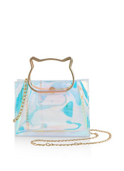 Cat Handle Iridescent Crossbody Bag - 1124073896841