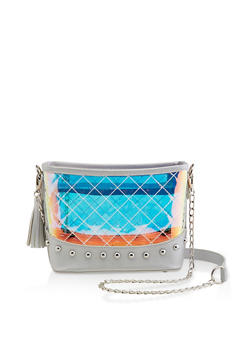 Studded Clear Iridescent Crossbody Bag - 1124073896900