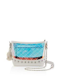 Studded Clear Iridescent Crossbody Bag - 1124073896900