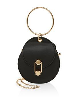 O Ring Handle Round Crossbody Bag - 1124073896915