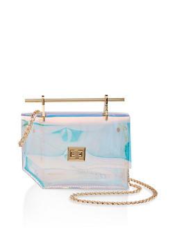 Metallic Handle Iridescent Crossbody Bag - 1124073896930