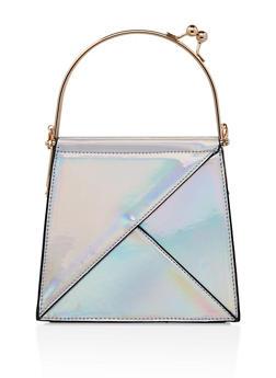Kiss Lock Faux Leather Handbag - 1124073896935