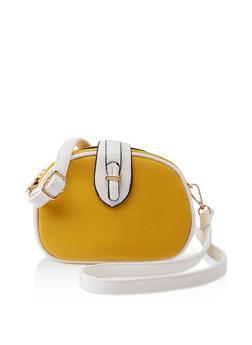 Contrast Trim Faux Leather Crossbody Bag - 1124073896998