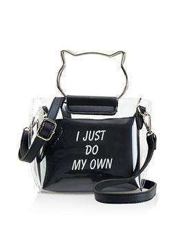 Clear Metallic Cat Handle Crossbody Bag - 1124073897013