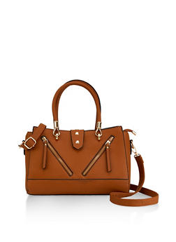 Zipper Detail Faux Leather Satchel - 1124073897019