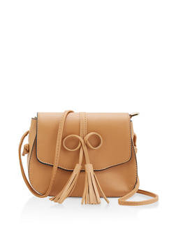 Tassel Bow Faux Leather Crossbody Satchel - 1124073897036