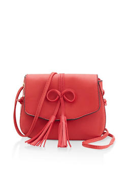 Tassel Bow Faux Leather Crossbody Satchel - 1124073897036