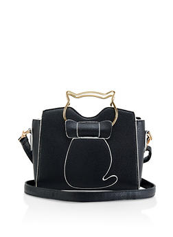 Metallic Cat Handle Crossbody Bag - 1124073897043