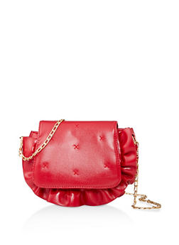 Ruffle Trim Faux Leather Crossbody Bag - 1124073897500