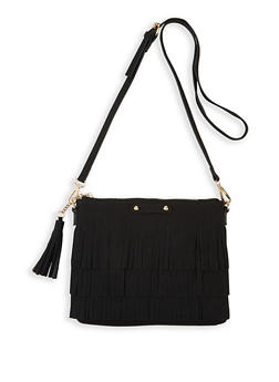 Faux Suede Fringe Crossbody Bag - 1124073897555