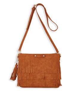 Faux Suede Fringe Crossbody Bag - 1124073897555