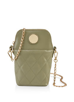 Metallic Detail Quilted Crossbody Bag - 1124073897968