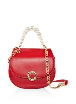 Faux Pearl Handle Crossbody Saddle Bag - 1124073897981