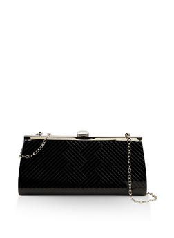 Embossed Rhinestone Clutch - 1124073899907