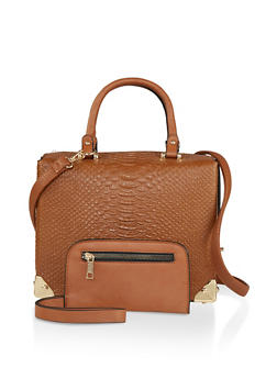 Faux Snake Embossed Handbag - 1124074105013