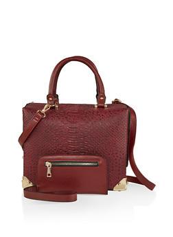 Faux Snake Embossed Handbag - 1124074105013
