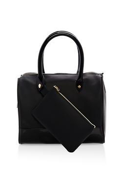 Faux Leather Satchel with Detachable Coin Purse - 1124074117311