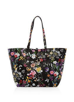 Floral Faux Leather Tote Bag - 1124074119427