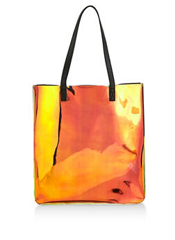 Iridescent Faux Leather Tote Bag - 1124074391959