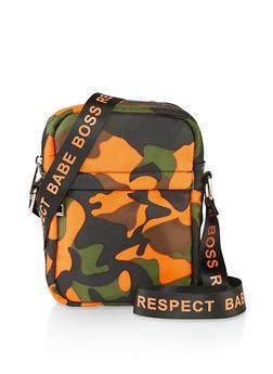Graphic Strap Crossbody Bag - ORANGE - 1124074391984