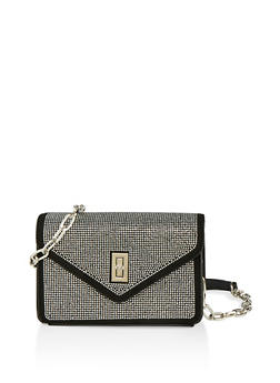 Rhinestone Envelope Crossbody Bag - 1124074392011
