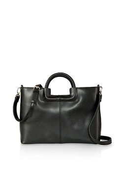 Faux Leather Single Zip Handbag - 1124074392020