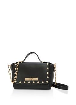 Faux Pearl Studded Crossbody Bag - 1124074397811