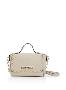 Faux Pearl Studded Crossbody Bag - 1124074397811