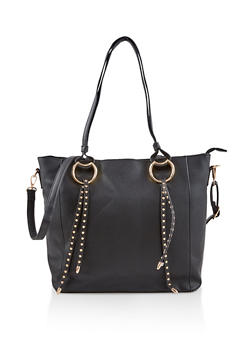 Studded Faux Leather Tote Bag - 1124074500015