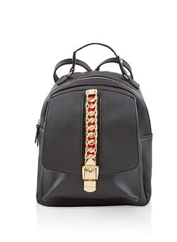 Chain Detail Faux Leather Backpack - BLACK - 1124074500139