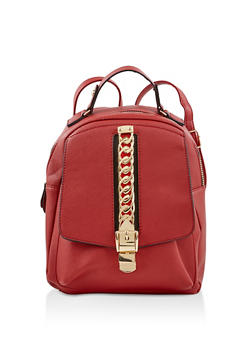 Chain Detail Faux Leather Backpack - RED - 1124074500139