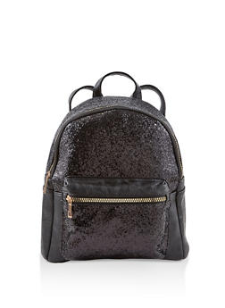 Glitter Faux Leather Backpack - BLACK - 1124074503113