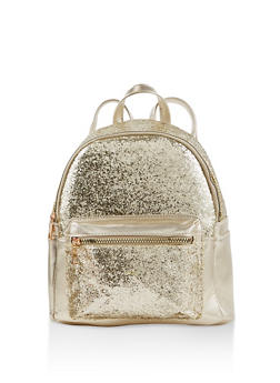 Glitter Faux Leather Backpack - GOLD - 1124074503113