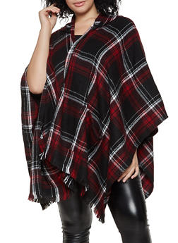 Plaid Hooded Shawl - 1125067443900