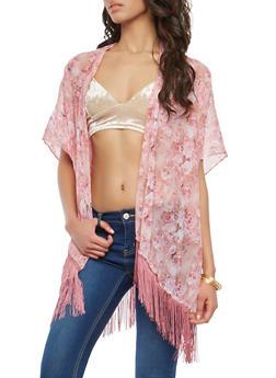 Sheer Floral Fringe Detail Kimono - 1125067448033