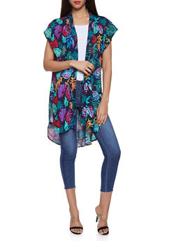 Side Slit Floral Kimono - 1125067448078