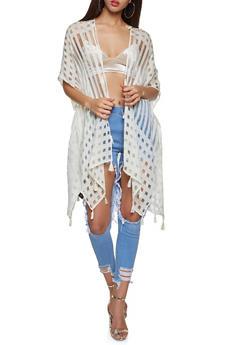 Tassel Trim Kimono - 1125067448082