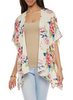 Side Slit Floral Kimono - 1125074400391