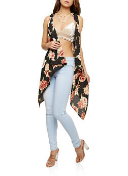 Floral Print Flyaway Vest - BLACK - 1125074407951