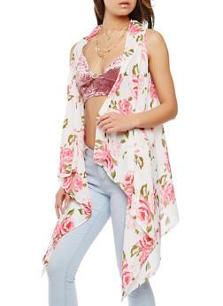 Floral Print Flyaway Vest - IVORY - 1125074407951