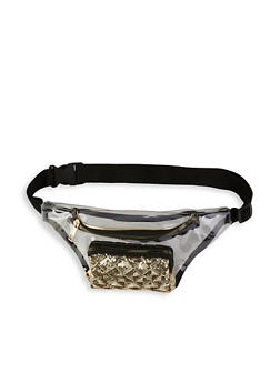 Sequin Detail Double Zip Clear Fanny Pack - 1126061591028