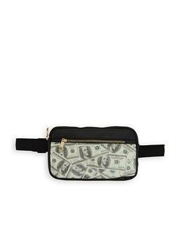 Money Print Double Zip Fanny Pack - 1126067440050