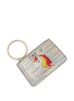 Unicorn Graphic Iridescent Clutch - 1126067440838