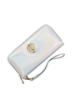 Metallic Emblem Faux Leather Wallet - 1126067441002