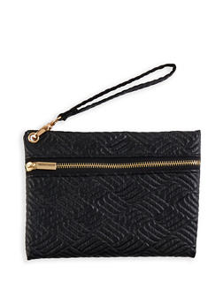 Embossed Faux Leather Wristlet - 1126067442009