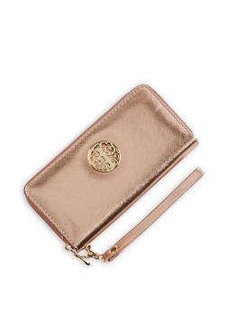 Faux Leather Metallic Detail Zip Wallet - 1126067442509
