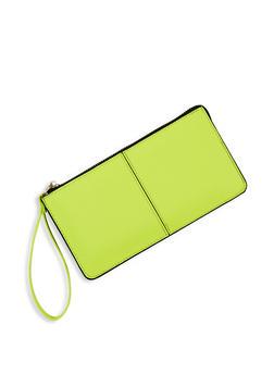 Textured Faux Leather Zip Wristlet - 1126067446090